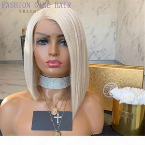 Blonde Transparent brazilian hair Lace Front Wigs Straight Short Bob Frontal Wig side part synthetic lace wig heat resistant preplucked