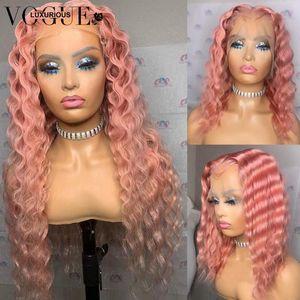 레이스 가발 Glueless 13x4 깊은 파도 정면 가발 레미 브라질 180 밀도 프론트 핑크 퍼플 블루 컬러 인간의 머리카락 여성