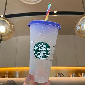 Starbucks 24OZ 710ml Plastic Tumbler Reusable Clear Drinking Flat Bottom Cup Pillar Shape Lid Straw Mug Bardian Npcs
