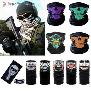 DHL Ship Skull Magic Turban Bandanas Skull Face Masks Skeleton Outdoor Sports Ghost Neck Scarves Headband Cycling Motorcycle Wrap BA13