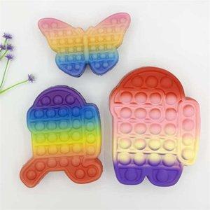 Rainbow Christmas Butterfly Shape Fidget Toys Push Poppers Bubbles Decompression Children's Toy Fashion Tie Dye Boys Grils Game G962K