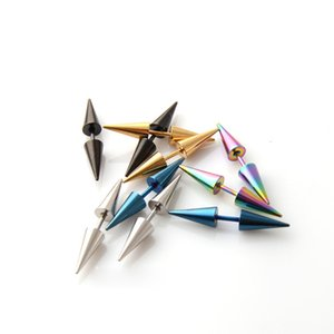 Hip Hop Colorful Ear Clip Stud Earrings Punk Men's Stainless Steel Cone Puncture Earrings Jewelry Men Women Wholesale