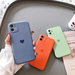 Soft Silicon case for iPhone 12MINI Solid Color Case and Heart of love Cover For iPhone 11 Pro max XR XS Max x 7 8 6S pulse se20