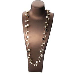 Fashion designer luxury classic style elegant Four-leaf clover pearl multi layer long sweater statement necklace for woman