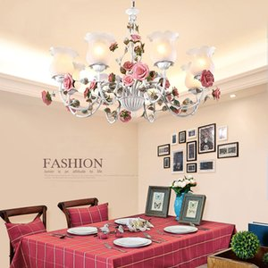 Home living room garden chandelier girl room bedroom lamp creative rose flower american retro iron industrial chandeliers