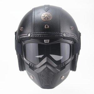 Motorcycle Motorbike Rider Retro Open Face Helmet Casco Casque Moto Vintage Helmets Leather Summer Man