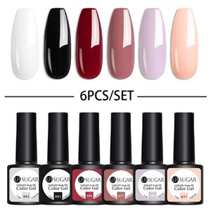 PerfectionsUR SUGAR Gel Nail Polish Set White Pink Purple UV Nail Kit Set Glitter Semi Permanent Nail Art Gel Varnish Need Base Top Coat
