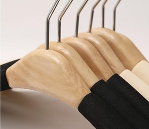 50Pcs Solid Wood Hangers Trousers Coat Clothes Hanger for Suit Sponge Padded Coats Shirts Cloth Holders GGA5031