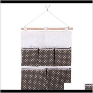 Bags Keys Kitchen Door Packing Cotton Linen Storage Bag Closet Pouch Bedroom Cosmetics 5 Pockets Wall Hanging Dots Printed Organizer1 S5R3U