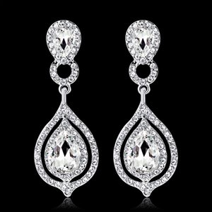 Shining Fashion Crystals Earrings Rhinestones Long Drop Earring For Bridal Jewelry Wedding Gift For Bridesmaids