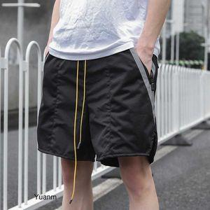 brand Tide rhude 20ss drawstring reflective stitching pocket sports shorts men's casual mesh Capris 93UL