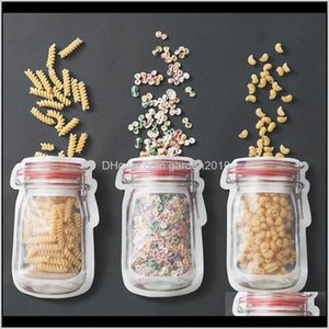Bottles & Jars Bottle Mason Jar Shaped Food Container Bag Clear Modeling Zippers Storage Snacks Plastic Box 4Tjkf F0Jdf