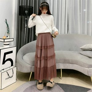Skirts Women Spring Autumn Fashion Casual Tulle Layered Elastic High Waist Mesh A Line Swing With Ruffles Long One Size