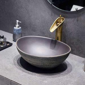 Modern style art washbasin ceramic bathroom sink toilet room oval marble porcelain wash basin