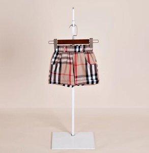Boys plaid shorts summer kids lattice casual short pants Kid designer clothes childen double pocket lace-up waist trousers F4342