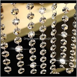 Decorations 10M Clear Acrylic Crystal Beads Curtain Garland Chandelier Pendants Hanging Chain Christmas Wedding Party Decoration Home Ohuku