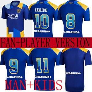 2021 BOCA JUNIORS 세 번째 멀리 축구 유니폼 115 주년 기념 115 스페셜 수 선수 버전 Tevez Maradona Carlitos Gago Blue De Fútbol 남성 + 아이 셔츠