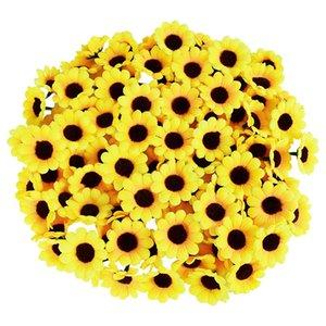 500Pcs 4.5cm Silk Artificial Sunflower Daisy Flower Head Wedding Birthday Party Decor DIY Scrapbooking Wreath Craft Fake Flowers