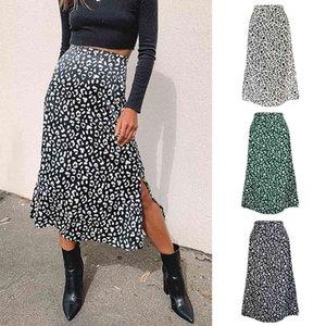 Fashion designer 2021 skirt Spring And Summer Women's Leopard Print Chiffon Printed Split Sexy Zipper High Waist Medium-length Dress