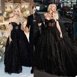 Black Wedding Dresses Glitter Sequins A Line Bridal Gown Off Shoulder Beads Appliqued Lace Beach Custom Sweep Train Boho Chic Robes De Mariée