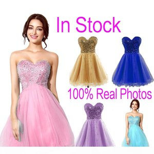 2021 In Stock Tulle Mini Crystal Cocktail Dresses Beads Short Prom Party Graduation Gowns Cheap Real Image