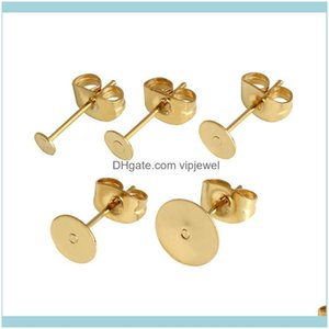 & Components Jewelryreal Gold Plated Stainless Steel Blank Post Earring Studs Base Pins With Plug Findings Ear Back For Diy Jewelry Making D