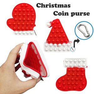Fidget Toys Christmas Socks Coin Purse Reindeer Silicone Push Bubble Sensory Reliever Stress for Adult Children Autism Antistress Toy Gifts W5963