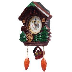 Wall Clocks Wooden Cuckoo Clock Vintage Bird Creative Living Room Children Bedroom Pendulum Craft Art Home Decor C5T112