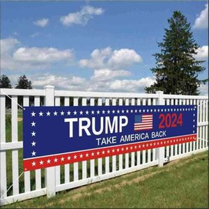 50*250CM Trump 2024 US Presidential Campaign Election Banner Accessories Keep America Great Letters Printed Garden House Flag EWA4870