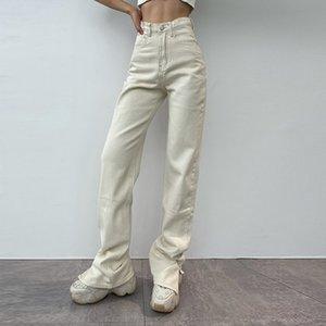2021 расклешенные джинсы женщин высокая талия мама джинсы джинсовые брюки женские уличные белые винтажные одежды ботинок вырезать широкие негабаритные штаны