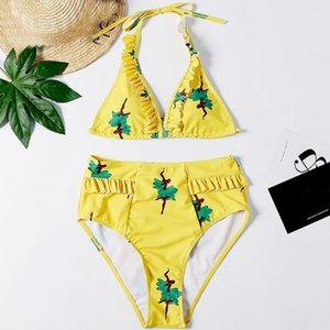 Fashion Swimwear For Women Ladies Sexy Bikini Printing Camisole Beach High Waist Swimsuit Flounced Ruffles Swimwear Bathing Suit1