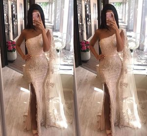 Sexy Side Split Mermaid Prom Dresses One Shoulder Appliques Lace Floor Length Evening Dress Custom Made Arabic Formal Party Gowns