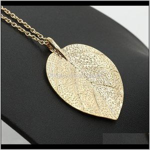 Necklaces & Pendants Drop Delivery 2021 Woman Long Gold Plated Leaf Pendant Lady Sweater Dress Accessories Leaves Chain Necklace Jewelry W2Gs