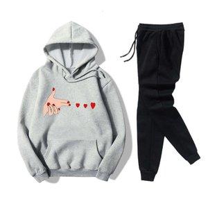Two piece hooded sweater women's finger gun love printing leisure wear