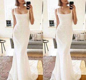 Spaghetti Boho Wedding Dresses Mermaid Soft Stain Bridal Gowns Sweep Train Backless Sleeveless Summer Garden Beach Robe De Mariee