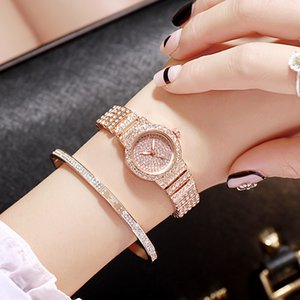 DZG Personalized Small Quartz Watch Fashion Casual Set Alloy Steel Belt Starry Rhinestone Watch Womens Watch