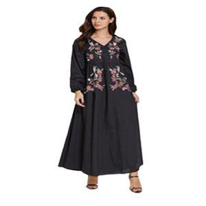 이슬람 의류 일반 abaya 여성 대형 블랙 민족 자 수 V 넥 아랍 드레스 캐주얼 닫힌 터키 긴 소매 musulman mc9013