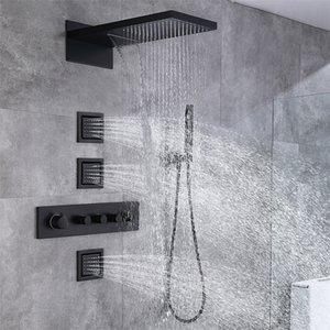 숨겨진 전체 구리 욕실 샤워 세트 지능형 온도 조절 식 4 기능, 폭포 비 벽걸이 형 스퀘어 탑 스프레이 헤드 시스템 3 사이드 제트 황동 매트 블랙