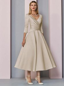 A-Line Mother of the Bride Dress Plus Size Elegant Vintage V-Neck Tea Length Satin 3 4 Sleeve with Pleats 2021 c052
