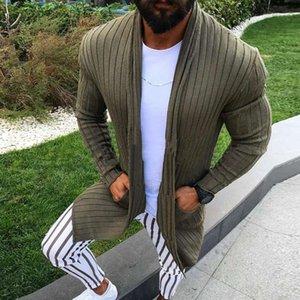 الرجال البلوزات سترة الرجال سترة طويلة الأكمام مخطط ميدي سترة معطف مع جيب الشتاء الخريف عارضة اللون الصلبة الأزرار سحب أوم هيفير 1 lvbl