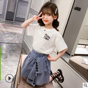 Детская одежда наборы весна и лета 2021 новых девушек футболка милая юбка набор одежды детей наборы 2 цвета 2 частей Size4-14 Ly137