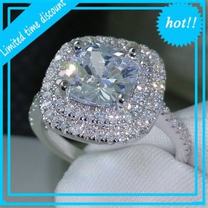 Luxury Womens Fashion Silver Gemstone Engagement Rings Women Jewelry Simulated Diamond Ring For Wedding