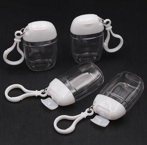30 ml Hand sanitizer plastic flip petg small sample pack bottle portable hook Jars Key Ring Clear Transparent SN4377 ZMKR