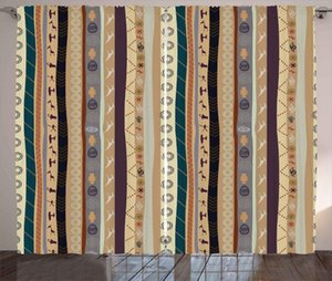 Curtain & Drapes Tribal Curtains Traditional Striped Pattern With Abstract Ornamental Details Vintage Artwork Living Room Bedroom Window