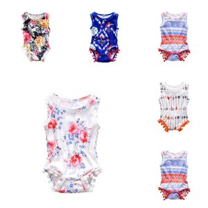 Baby Girl Boy Romper Toddler Tassel Onesie Jumpsuit Sleeveless Floral Arrow Print Infant Outfit Kid Clothes Summer Clothing
