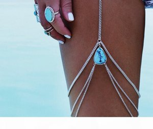 2017 new Sexy turquoise water drop Tassels Leg Chain Fashion Ankle Bracelets Anklet Jewelry Wholesale