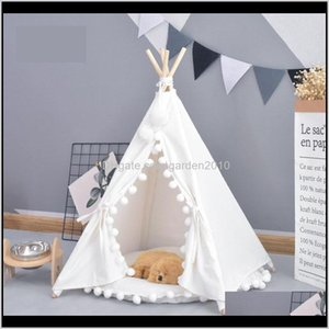 Houses Accessories Cute Outside Tent Pet Dog House Kennels Washable Puppy Cat Indoor Outdoor Portable Teepee Mat 2 Styles Hhmey 7Noav