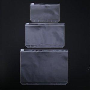Simple A5 / A6 / A7 Bolsa de PVC transparente Impermeable Plastic Storge Cremallera Folder File Bloc de notas Documento de bolsillo 6 Agujeros Suministros escolares DWC7151