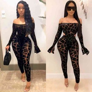 ZKYZWX Sexy Club Birthday Outfits Mesh Sheer Plaid Two Piece Set Women Rave Festival Clothing Bodysuit and Pant Matching Sets Y200701