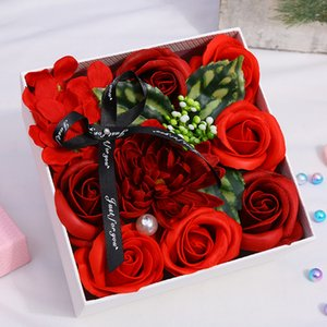 Rose Flower Box Artificial Flowers Sunflower Romantic Valentines Mother's Day Gift Wedding Party Gifts Handmade Petal YFA2930